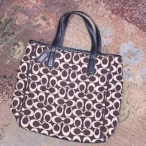 Coach handbag. Dark brown/cream print GUC